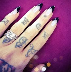 Black Tipped Stiletto Nails