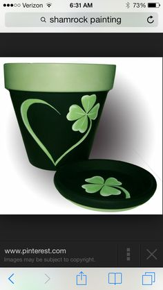 Shamrock Flower Pot Original Hand Painted by DesignsByDesa on Etsy Flower Pot Art, Flower Pot Design, Clay Flower Pots, Terracotta Flower Pots, Flower Pot Crafts, Painted Clay Pots, Painted Flower Pots, Hand Painted, Painted Pebbles