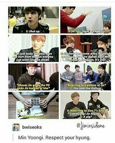 Lol this must be old cause Jin has been reminding Yoongi who is the hyung lately XD BTS Tumblr Posts (@btsontumblr) | Twitter
