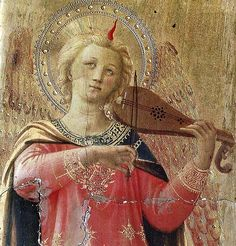 Fra Angelico, Open Tabernacle of Linaioli (San Marco, closed up of Angel with Violin) Renaissance Music, Renaissance Paintings, Italian Renaissance, Madonna, Adorable Petite Fille, Fra Angelico, Globe Art, Guardian Angels, Italian Art