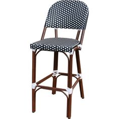 Perfect pulled up to your kitchen island or placed on the patio, this charming bar stool features a rattan-inspired design in black and white.