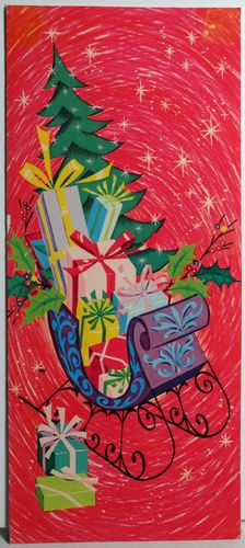 1960s Mod Gift Filled Sleigh Vintage Christmas Card