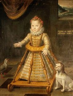 This is Maria Apollonia di Savoy daughter of Charles Emmanuel I , Duke of Savoy,who grew up to become a nun. In this portrait by one of the circle of Jan Kraeck, she's about 18 - 24 months old Renaissance Fashion, Renaissance Art, Historical Costume, Historical Clothing, Charles Emmanuel, Hans Baldung Grien, Art Through The Ages, Old Paintings, Medieval Art