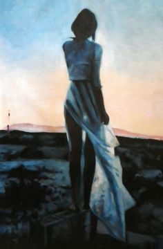 "Saatchi Online Artist: thomas saliot; Oil 2013 Painting ""sunset desert girl"""