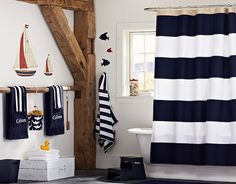 Rugby Shower Curtain for boys' bathroom | Pottery Barn Kids