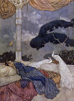 Art by Edmund Dulac .illustration of Queen Shehrazade of a 'Thousand-and-one nights' (Arabian nights tales). Art And Illustration, Illustrations, Botanical Illustration, Edmund Dulac, Fantasy Kunst, Fantasy Art, Fairytale Art, Arabian Nights, Art Design