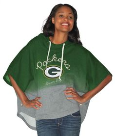 Make sure you're able to support your very own Green Bay Packers in any weather when you are wearing this Green Bay Packers poncho by Alyssa Milano. This 85% cotton/15% polyester poncho features a hood with drawstrings, an incredibly vibrant and high quality stitched team logo and name in front, as well as a front pouch for your hands with buttons on the side in case you're feeling restrictive. #greenbaypackers #packers #nfl