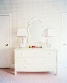 Lonny Magazine / Jonathan Adler lamps / looks like an Ikea dresser / love the mirror
