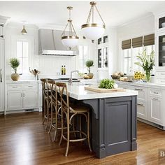 Gorgeous white kitchen with dark island - Better Homes and Gardens