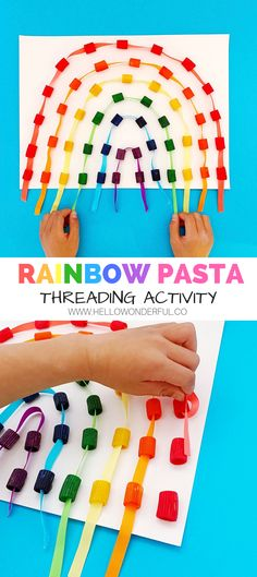 Rainbow Pasta Threading Activity Source by Holiday Activities For Kids, Preschool Learning Activities, Toddler Activities, Preschool Activities, Crafts For Kids, Summer Activities, Pasta Crafts, Rainbow Pasta, Rainbow Crafts