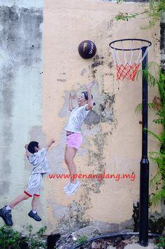 Penang Street Art - Children Playing Basketball