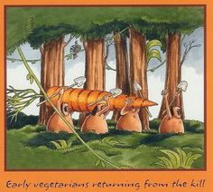 Funny Early Vegetarians Returning From the Kill Hunting Cartoon
