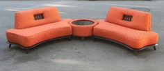 I Like Mike's Mid Century Modern - MID CENTURY TWO PIECE ASYMETRICAL SECTIONAL SOFAS IN RED & ORANGE WITH