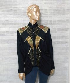 victorian black blouse black lace southwestern shirt by IuSshop