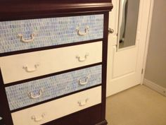out dated drawer chest updated with bright blue and white wallpaper Blue And White Wallpaper, White Colors, Chest Of Drawers, Dresser, Bright, Projects, Diy, Inspiration, Furniture
