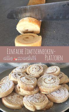 Zimtschnecken-Plätzchen von der Rolle Cinnamon bun cookies are easy to bake. The dough is rolled up and then cut into slices. Cinnamon Roll Cookies, Cinnamon Rolls, Cookie Recipes, Dessert Recipes, Biscuits, Vanilla Sugar, Ready Made Kitchen Cabinets, Plated Desserts, Bakery