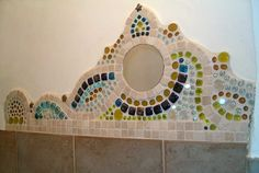 Mosaic on toilet wall