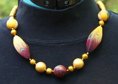 """""""Casablanca Sojourn"""" necklace, variation 4.  Polymer clay and glass beads."""