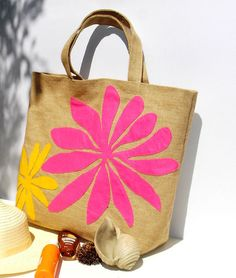 Haitian summer jute tote bag with fuschia bold by Apopsis on Etsy
