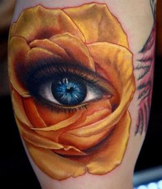 Final product. Sarah's eyes inside a yellow rose.