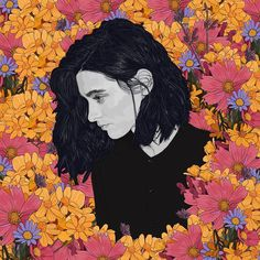Pedro Tapa is a talented Spanish artist who creates beautiful illustrative portraits in black & white and in colors of young ladies in flowers.
