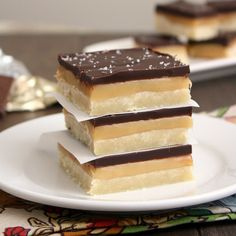 Salted Caramel Chocolate Shortbread Bars. I'd made it with milk chocolate. Get. In. Mah. Belly.