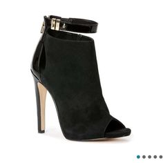 Calvin Klein booties Calvin Klein peep toe booties.  Black suede front and sides with patent back.  Also zips up back.  Worn once Calvin Klein Shoes Ankle Boots & Booties