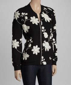 Look at this #zulilyfind! Black & White Floral Raglan Bomber Jacket #zulilyfinds