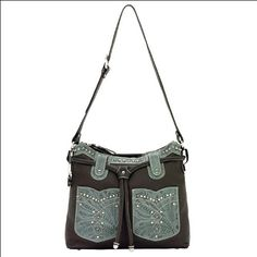 American West Dungaree Collection Zip-Top Structured Hobo An Adjustable Shoulder Strap