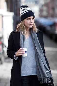 afterDRK Sabrina Meijer, wearing Acne scarf and 6397 beanie.