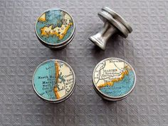 Map Drawer Pulls Handles Knobs, Brushed Nickel by Sherry Truitt Studios - Eclectic - Pulls - Etsy Cabinet And Drawer Knobs, Cabinet And Drawer Pulls, Dresser Knobs, Cabinet Drawers, Knobs And Pulls, Cabinet Hardware, Door Knobs, Door Pulls, Furniture Knobs
