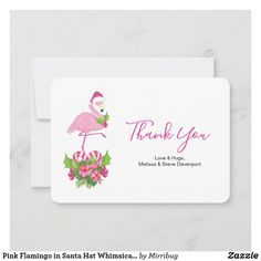 Pink Flamingo in Santa Hat Whimsical Christmas Thank You Card Christmas Thank You, Whimsical Christmas, Love Hug, Custom Thank You Cards, Pink Flamingos, Santa Hat, Keep It Cleaner, Your Cards, Smudging