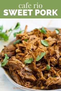 This Cafe Rio Sweet Pork is tender, juicy, and full of flavor! Just throw the ingredients in your slow cooker in the morning and it will be ready for dinner that evening – it's that easy. This pork is the perfect addition to burritos, tacos, salads and more. #crockpot #caferio #sweetpork
