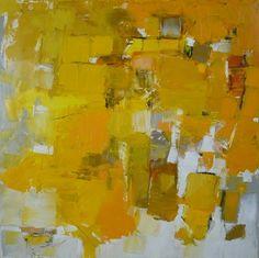Laura Burkhart: The Daylight contemporary art yellow jaune art abstrait contemporain peinture au couteau
