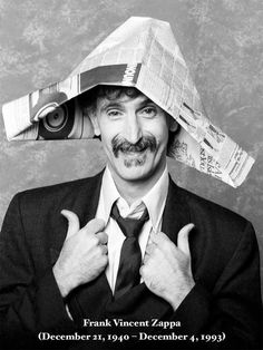 Zappa with a paper hat Frank Vincent, Jazz, Sounds Good To Me, Recorder Music, Frank Zappa, Milla Jovovich, Music Photo, Jimi Hendrix, Rock Music