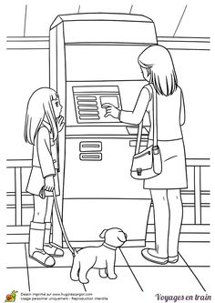 Une petite fille avec sa maman, dessin à colorier