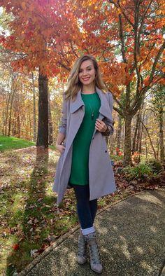 #feminine #style #inspiration #popofcolor #fashion #dress #coat #booties #fall