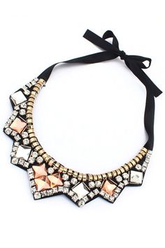 Crystal Faux Stone Bib Necklace