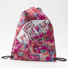 Vans Multi Floral Printed Benched Bag. cute drawstring bag to hold your beach towel, sunnies, and cover up