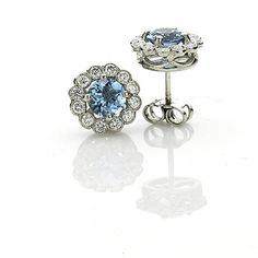 Bridal Jewellery Inspiration, Bridal Jewelry, Aquamarines, Cluster Earrings, Something Blue, Earring Set, Belly Button Rings, Diamond Cuts, Wedding Day