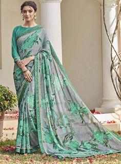 Indian Parti Traditionnel Style Saree Jaune Bleu Banarasi Silk Sari Designer