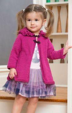 Ruffle Hood Coat Free Knitting Pattern from Red Heart Yarns