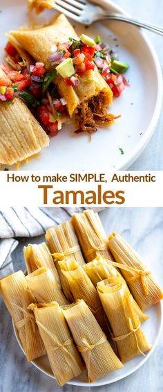 An authentic Tamales recipe and full tutorial and video for how to make homemade chicken or pork tamales on the stovetop or in the instant pot. via food Mexican Tamales Authentic Mexican Recipes, Authentic Tamales Recipe, Mexican Food Recipes, Dinner Recipes, Mexican Desserts, Chicken Tamales, Beef Tamales, Tamales Food, Beef Recipes