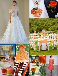 orange color board and Monique Lhuillier gown.