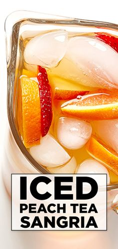 A new twist on this favorite Spanish cocktail, the combination of white wine and peach iced tea with brandy, syrup and fresh fruit will have you cheering, Salud! Alcoholic Iced Tea, Iced Tea Cocktails, Brandy Cocktails, Alcoholic Beverages, Iced Tea Recipes, Sangria Recipes, Drink Recipes, Spanish Cocktails, Twisted Tea