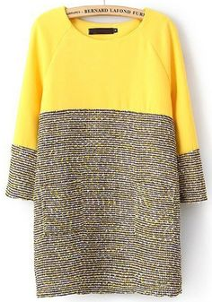 Yellow Patchwork Long Sleeve Wrap Chiffon Dress