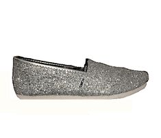 Womens Sparkly Silver Glitter Toms Flats shoes bridal Bride Wedding www. glittershoeco.com Glitter. Glitter Shoe Co a884c2fee5b8