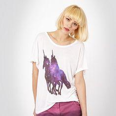 PRESENT: White unicorn t-shirt from H! by Henry Holland. (Debenhams, 2012) Full link: http://www.debenhams.com/webapp/wcs/stores/servlet/prod_10001_10001_037010700982_-1?breadcrumb=Home~txth!+by+henry+holland~Women~Tops