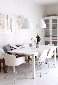 Bancos em mesas de refeições. Inspirações no Blog Midá.