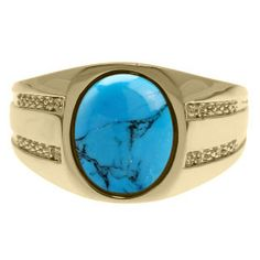Oval-Cut Turquoise and Diamond Men's Ring In Yellow Gold Gemologica.com offers a unique selection of mens gemstone and birthstone rings crafted in sterling silver and 10K, 14K and 18K yellow, white and rose gold. We have cool styles including wedding and engagement rings, fashion rings, designer rings, simple stone and promise rings. Our complete jewelry collection of gemstone rings for men can be seen here: www.gemologica.com/mens-gemstone-rings-c-28_46_64.html